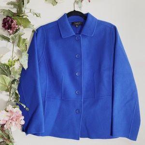 Talbots Royal Blue Wool Button-Up Coat Jacket